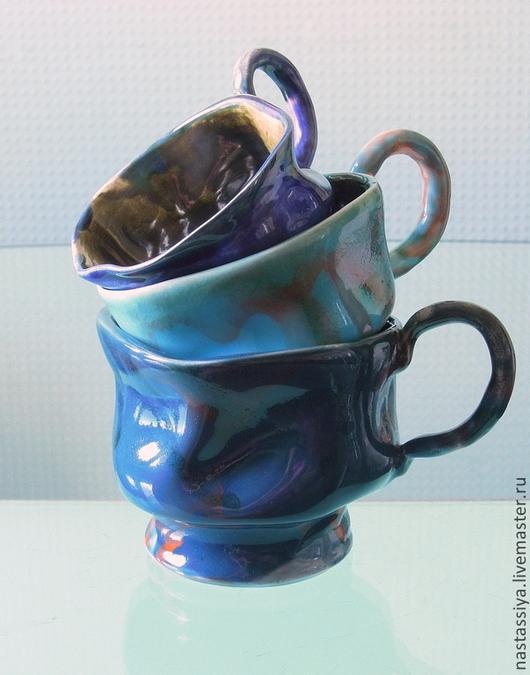 Кружки и чашки ручной работы. Ярмарка Мастеров - ручная работа. Купить Семейство мятых чашек. Handmade. Синий, для интерера