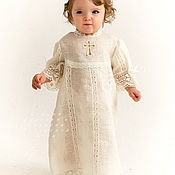 Работы для детей, handmade. Livemaster - original item Christening dress linen Vologda lace art. 217. Handmade.