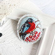 Украшения handmade. Livemaster - original item Brooch bullfinch beaded embroidery. Handmade.