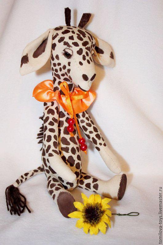 Игрушки животные, ручной работы. Ярмарка Мастеров - ручная работа. Купить жирафик. Handmade. Коричневый, Пятнистый, роспись по ткани