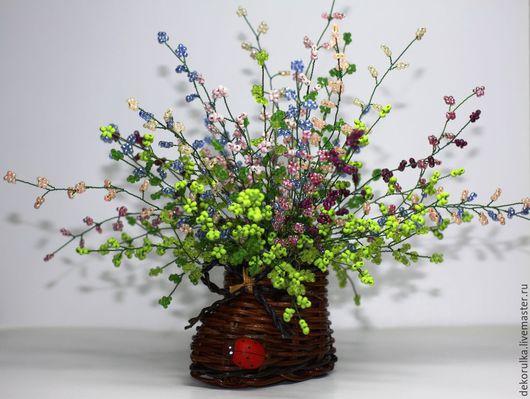 Искусственные растения ручной работы. Ярмарка Мастеров - ручная работа. Купить Вереск из бисера № 1. Handmade. Разноцветный