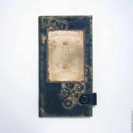 """Папки для бумаг ручной работы. Ярмарка Мастеров - ручная работа. Купить """"Леонардо"""", холдер для документов. Органайзер путешественника.. Handmade. Черный"""
