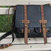 Сумки и аксессуары handmade. Livemaster - original item Messenger bag men`s GRANITE leather black and cognac colors. Handmade.