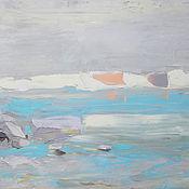 """Картины и панно ручной работы. Ярмарка Мастеров - ручная работа """"Ветер с залива"""" 120х50 абстрактная картина маслом мастихином. Handmade."""