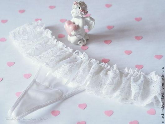 """Белье ручной работы. Ярмарка Мастеров - ручная работа. Купить """"Поцелуй ангела"""". Трусики из натурального шелка. Handmade. Белый"""
