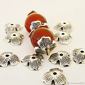 Материалы для творчества handmade. Livemaster - original item Caps for beads, silver color, 10 mm. (08) per piece. Handmade.