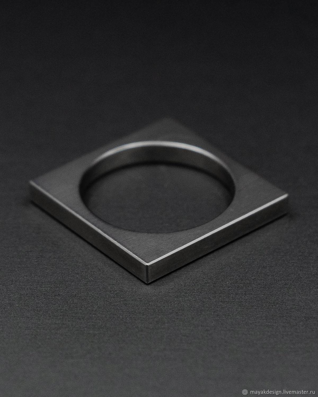 Титановое кольцо квадрат, Кольца, Санкт-Петербург,  Фото №1