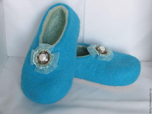 Обувь ручной работы. Ярмарка Мастеров - ручная работа. Купить тапочки УТРЕННЕЕ НАСТРОЕНИЕ. Handmade. Тёмно-бирюзовый, тапочки из шерсти