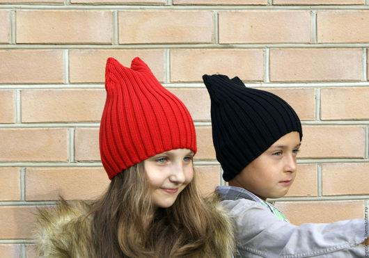 Шапки и шарфы ручной работы. Ярмарка Мастеров - ручная работа. Купить Шапка с ушками 100% хлопок. Handmade. Детская шапка