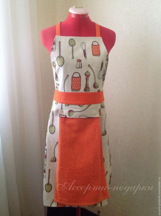 Кухня ручной работы. Ярмарка Мастеров - ручная работа. Купить Фартук для кухни+прихватки Лен/Хлопок с полотенцем. Handmade. Оранжевый, подарок сестре