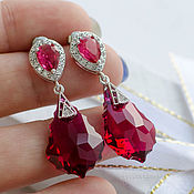 Украшения handmade. Livemaster - original item Swarovski earrings Red wine. Handmade.