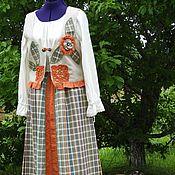 Одежда ручной работы. Ярмарка Мастеров - ручная работа БОХО льняной костюм – жилет и юбка «Arija». Handmade.