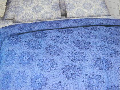 """Текстиль, ковры ручной работы. Ярмарка Мастеров - ручная работа. Купить Постельное белье из бязи """"Снегурочка"""". Handmade. Синий"""