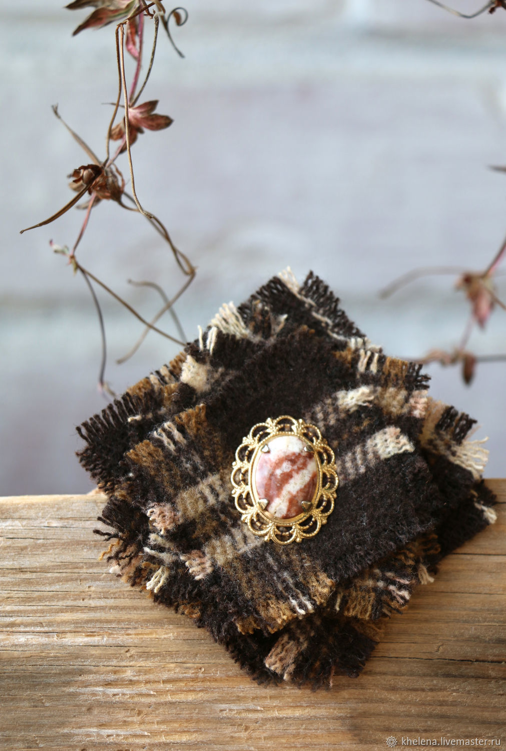 Pin brooch: textile 'Autumn intersections», Brooches, Peterhof,  Фото №1