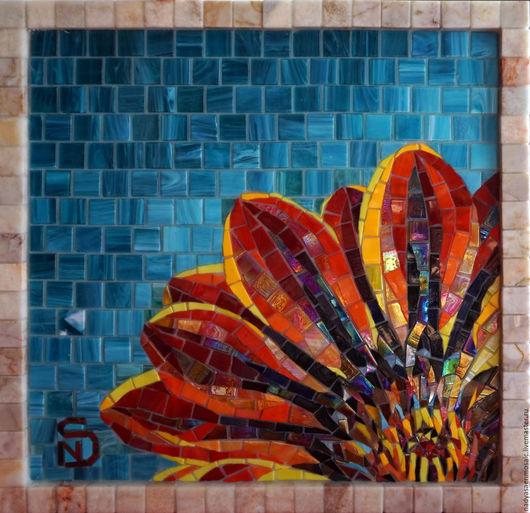 Картины цветов ручной работы. Ярмарка Мастеров - ручная работа. Купить Картина из мозаики Цветок. Handmade. Рыжий, гербера, стекло