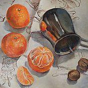 Картины и панно ручной работы. Ярмарка Мастеров - ручная работа Мандаринки и джезва. Handmade.