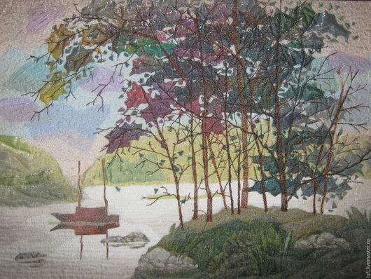 """Пейзаж ручной работы. Ярмарка Мастеров - ручная работа. Купить Квилт """"Акварель"""". Handmade. Квилтинг, деревья, подарок, органза, синтепон"""