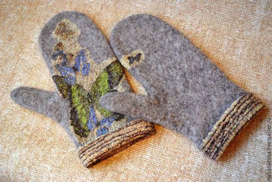 Варежки, митенки, перчатки ручной работы. Ярмарка Мастеров - ручная работа. Купить Варежки валяные с бабочками. Handmade. Бежевый