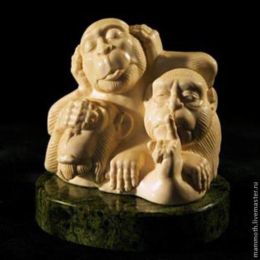 """Статуэтки ручной работы. Ярмарка Мастеров - ручная работа. Купить Три обезьяны """"Не вижу зла, не слышу зла, не говорю о зле"""". Handmade."""