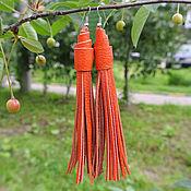 Ярко-Оранжевые Кожаные Серьги (Indiana_Orange)