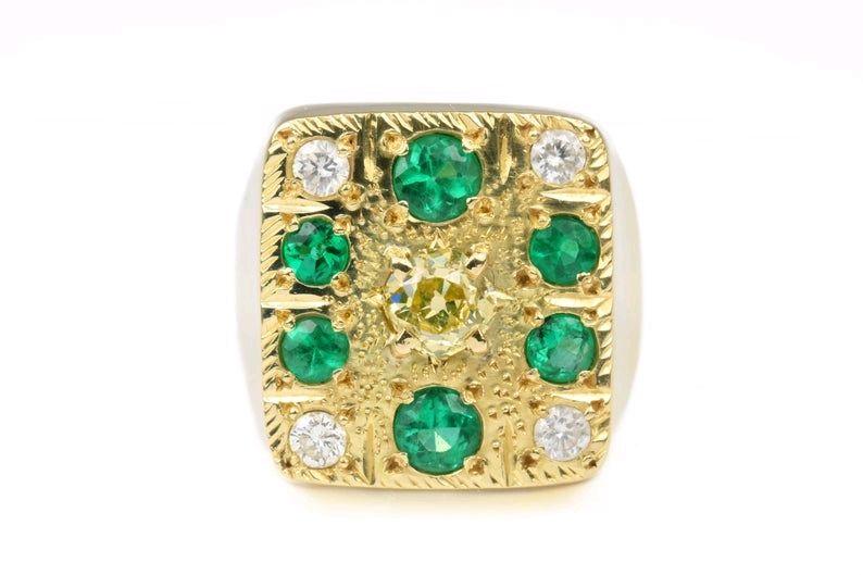 Золотое кольцо 18К для мужчин с колумбийскими изумрудами и алмазами JR, Кольца, Вест-Палм-Бич,  Фото №1