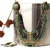Украшения handmade. Livemaster - original item Iguana necklace with ceramic beads and Raku earrings. Handmade.