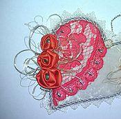 Подарки к праздникам ручной работы. Ярмарка Мастеров - ручная работа Валентинка с коралловыми розами. Handmade.