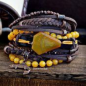 handmade. Livemaster - original item Brown and yellow boho bracelet With mango slice