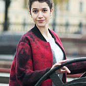 Одежда handmade. Livemaster - original item Red coat-bomber from the author`s felt. Handmade.