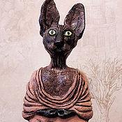 Для дома и интерьера ручной работы. Ярмарка Мастеров - ручная работа Кот-буддист керамическая скульптура. Handmade.