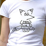 Одежда handmade. Livemaster - original item Women`s t-shirt with humor Fox, funny t-shirt lapochka.. Handmade.