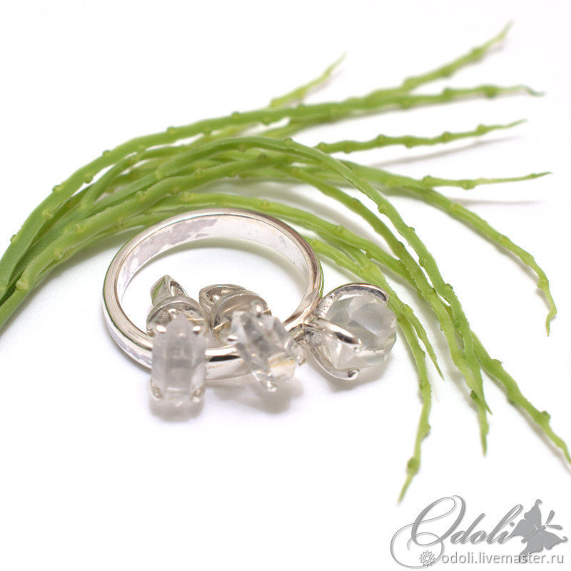Sterling silver 925 earrings and ring with herkmeyer diamonds, Jewelry Sets, Krasnoyarsk,  Фото №1