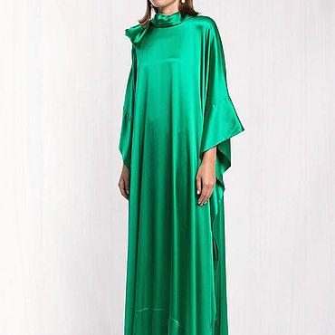 Одежда ручной работы. Ярмарка Мастеров - ручная работа Зеленое платье длинное 800В. Handmade.