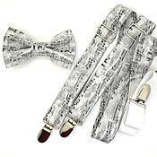 Аксессуары handmade. Livemaster - original item Set bow tie and suspenders in grey notes. Handmade.