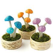 Куклы и игрушки ручной работы. Ярмарка Мастеров - ручная работа Грибочки кукольная миниатюра грибы поганки цветные. Handmade.