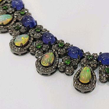 """Украшения ручной работы. Ярмарка Мастеров - ручная работа Колье """"Opal&Sapphire"""". Handmade."""
