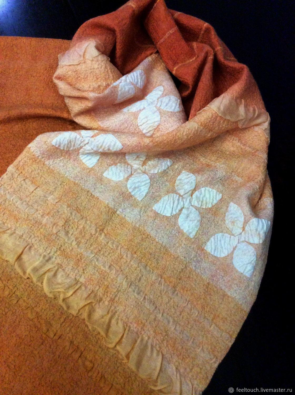 "Scarves handmade. Livemaster - handmade. Buy Шарф валяный ""Orange spirit"".Felted scarf, scarf for women"