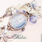 """Украшения ручной работы. Ярмарка Мастеров - ручная работа """"Небесные часы"""" часы браслет раритетные механические с жемчугом (С017). Handmade."""