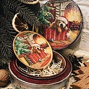 Подарки к праздникам handmade. Livemaster - original item Christmas set - bonbonniere and a plate with a dog. Handmade.