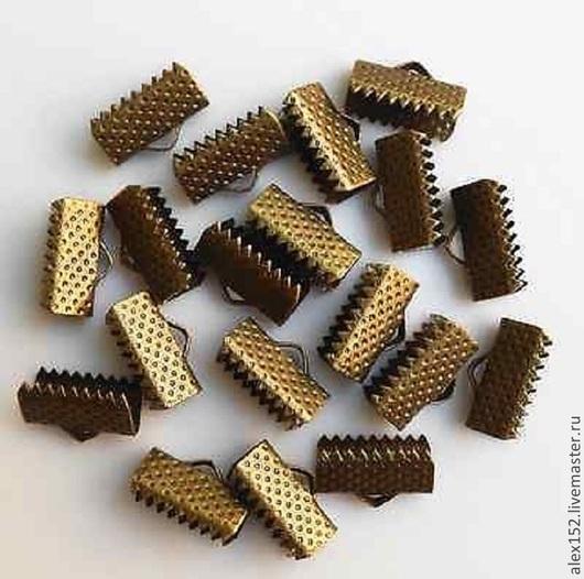 Для украшений ручной работы. Ярмарка Мастеров - ручная работа. Купить Зажим концевик для ленты  под бронзу (13 мм). Handmade.
