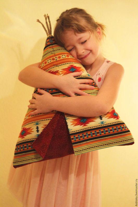 Текстиль, ковры ручной работы. Ярмарка Мастеров - ручная работа. Купить Вигвам подушка. Handmade. Комбинированный, подушка на диван, синтепух