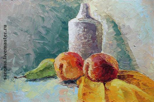 Натюрморт ручной работы. Ярмарка Мастеров - ручная работа. Купить Натюрморт с персиками. Handmade. Масло, мастехин, натюрморт, персики, груша