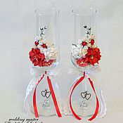 Свадебный салон ручной работы. Ярмарка Мастеров - ручная работа Свадебные бокалы с цветочным декором, красный. Handmade.