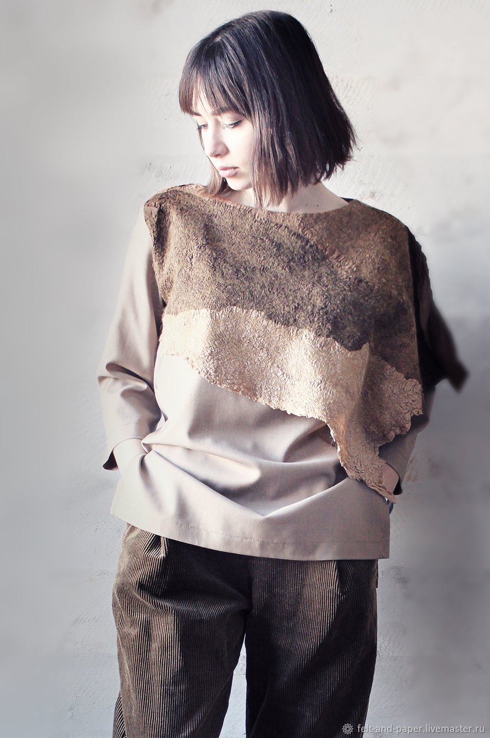 Loose blouse unfastened a detail, oversized tunic, Blouses, St. Petersburg,  Фото №1