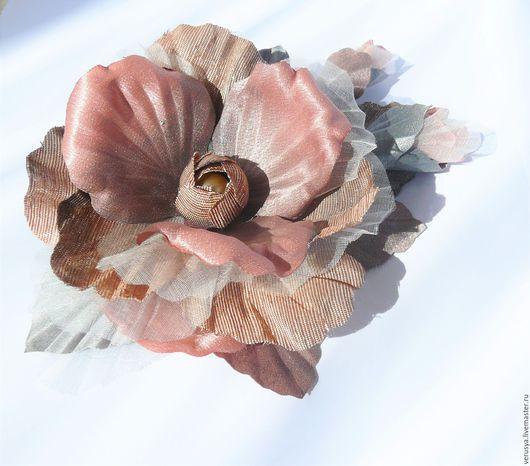 Заколки ручной работы. Ярмарка Мастеров - ручная работа. Купить Цветок в прическу или на платье (052016-1). Handmade. Коралловый