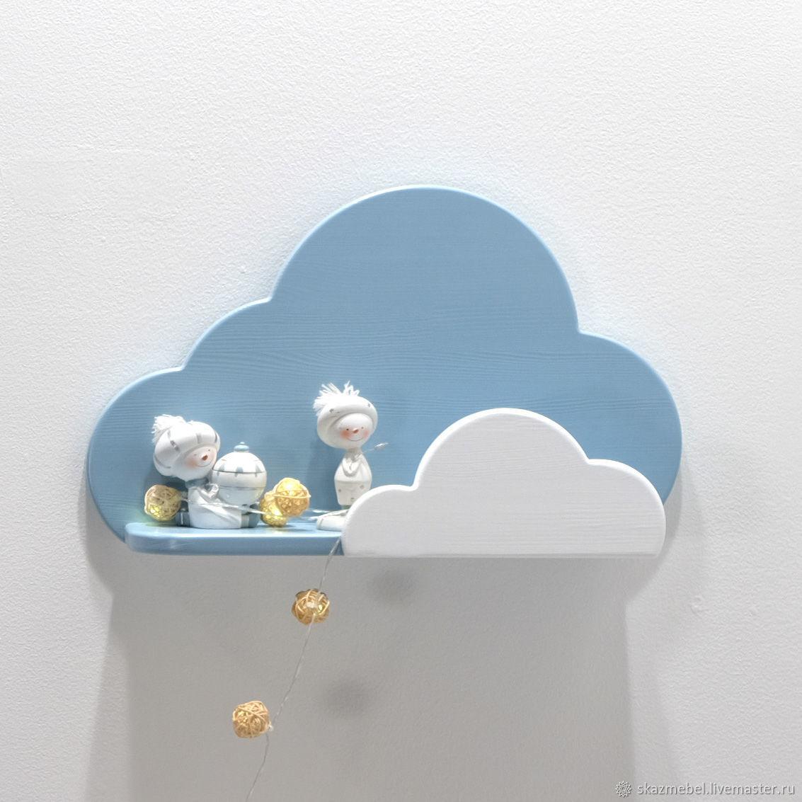 Детская ручной работы. Ярмарка Мастеров - ручная работа. Купить Полка Облачко Голубая с белым. Handmade. Голубой, натуральное дерево
