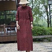 Платья ручной работы. Ярмарка Мастеров - ручная работа Красное вино льняное платье. Handmade.
