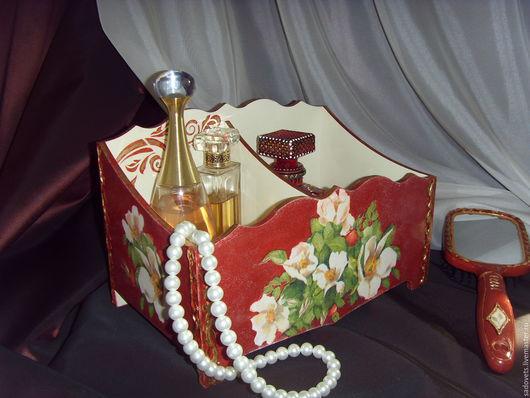 Корзины, коробы ручной работы. Ярмарка Мастеров - ручная работа. Купить Короб подставка для парфюма декупаж терракотовый Шиповник в цвету. Handmade.