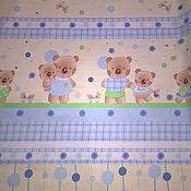"""Ткани ручной работы. Ярмарка Мастеров - ручная работа Детская ткань хлопок 100 % поплин """"Мишки  малышки"""". Handmade."""