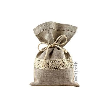 Свадебный салон ручной работы. Ярмарка Мастеров - ручная работа 10х15см. Мешочки льняные серые с хлопковым кружевом. Handmade.
